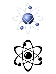 A drawing of a Lithium atom. In the middle is the nucleus