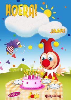Herbruikbare verjaardagsposter van Jokie en Jet. Gratis te bestellen door kinderdagverblijven en peuterspeelzalen, http://www.podiumvooronderwijs.nl/jokie