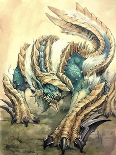 'Monster Hunter - Zinogre, Roaring Thunder' Canvas Print by darthraccoon Monster Hunter Art, Monster Hunter Series, Monster Art, Magic Creatures, Fantasy Creatures, Mythical Creatures, Creature Concept Art, Creature Design, Dragons