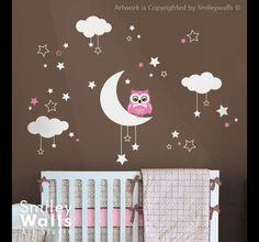 Eulen Sterne Mond und Wolken Kinder Wand tattoo