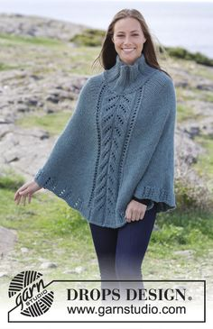 Vote For The New Drops Collection! Poncho Knitting Patterns, Shawl Patterns, Free Knitting, Baby Knitting, Crochet Patterns, Crochet Edgings, Crochet Motif, Crochet Poncho, Knitted Poncho