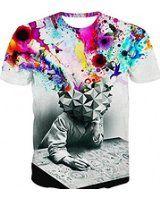 Поделиться Энди, рубашка Дамен Херрен Bluse 3D печать дизайн топы Hemd Kurzarm Футболка