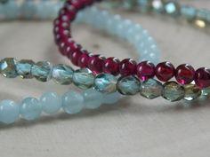 Boho Stacking Bracelets / Aquamarine Bracelet / Garnet Bracelet / Czech Glass Fire Polish Bracelet / Stretch Beaded Bracelets / Bracelet Set by MalieCreations on Etsy