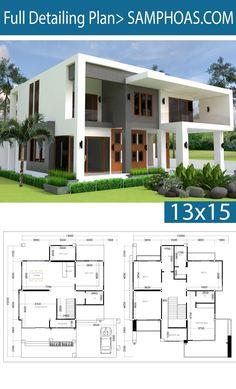 Modern 4 bedrooms house plan home design with layout Villa Design, House Arch Design, Luxury House Plans, Dream House Plans, 40x60 House Plans, Bungalow Haus Design, Double Storey House, Model House Plan, 4 Bedroom House Plans