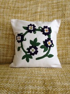 Pansy Pillow Cover Summer Pillow Cover Spring by sweetkimmieT