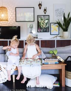 Emma's two daughters, Willow and Coco, (pictured) regularly feature in the photoshoots . Two Daughters, Clothing Labels, Friends In Love, Flower Girl Dresses, Photoshoot, Wedding Dresses, Children, Clothes, Fashion