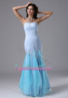 Strapless Mermaid Tulle and Beading Light Blue Pageant Dress