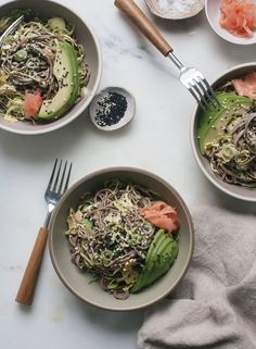 Soba Brussels Sprout Salad with Miso-Tahini Dressing