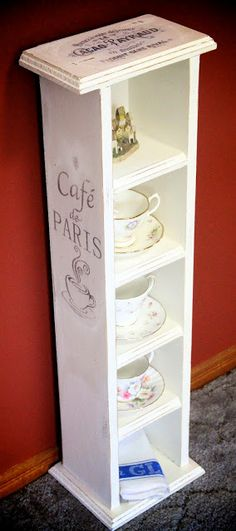 Great Idea To Upcycle A CD Rack To Display Teacups Or Small Collectibles. |  I Restore Stuff