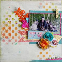 Layout by Marie-Nicolas Alliot for Prima using masks, stamps and felt flowers