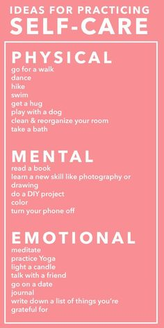 Ideas for practical self care.