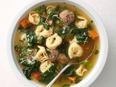 """■ In the Jan/Feb 2014 Food Network Magazine """"Light! Weeknight Cooking"""" Every recipe in article has fewer than 500 calories .Meatball-Tortellini Soup recipe from Food Network Kitchen via Food Network Soup Recipes, Dinner Recipes, Cooking Recipes, Healthy Recipes, Healthy Salads, Healthy Juices, Healthy Fruits, Chili Recipes, Cooking Ideas"""
