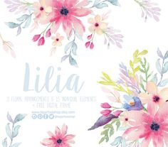 Watercolor clipart  Floral Frame PNG wedding bouquet