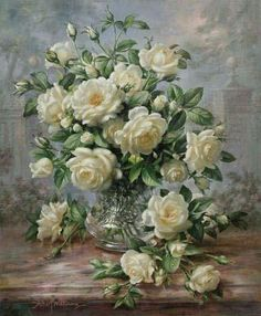 Albert Williams - Princess Diana Roses in a Cut Glass Vase
