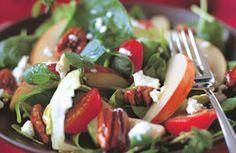 Salade d'automne aux pommes et jeunes épinards