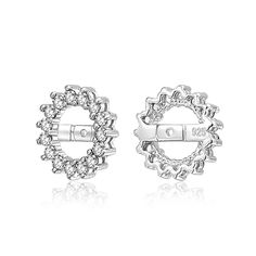 Bling Jewelry Sterling Silver CZ Round Halo Earring Jackets For Studs -- For more information, visit image link. (This is an affiliate link) #JewelryForWomen