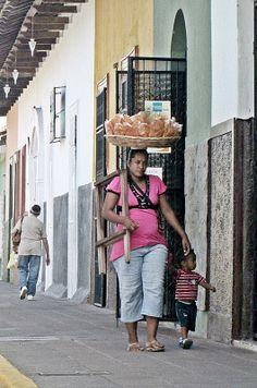 Bread Seller & Child - Calle la Calzada, Granada, Nicaragua