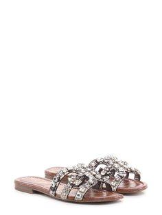 Sandalo basso in pelle effetto pitone con pietre su tomaia. suola in  gomma.tacco 780c0674f24