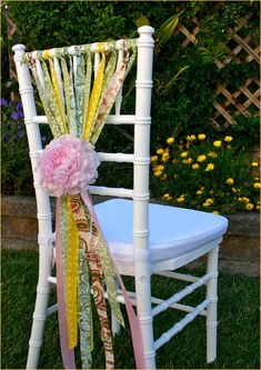 dress the chairs w/ pieces of ribbon and secure w/ a flower hair clip - a favor for the little girls (or real flowers for a big girl party)