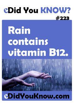 Rain contains vitamin B12. http://edidyouknow.com/did-you-know-223/