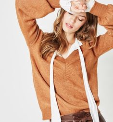Femme col V Chenille Pull Simply Be
