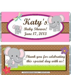 Elephant Baby Shower Candy Wrappers: http://www.thecandybarwrapper.com/elephant-baby-shower-candy-wrappers.html  $0.87 ea.