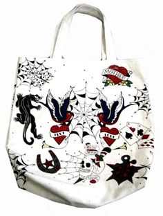 Old School Style Tattoo Print Tote Bag