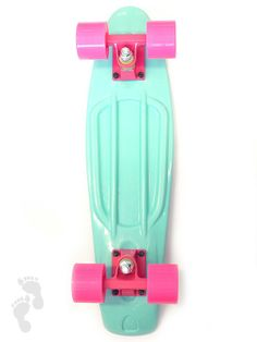 You can't get enough of this candy-inspired retro skateboard, the soft colour combo of the Mint Deck with Pink Wheels is flying off the shelves | twobarefeet.co.uk