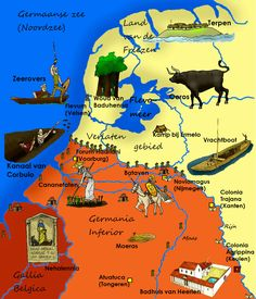 Nederland in de Romeinse tijd TEKST European Map, European History, World History, Roman Empire Map, Holland Map, Kangal, Country Maps, Roman History, World Maps