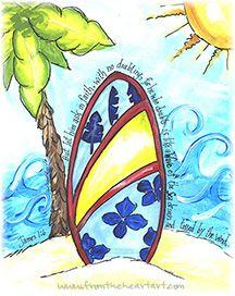 Blue Surf Board Print (James 1:6)