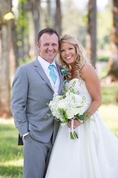 White and Teal Bridal bouquet @Evergreen Chapel in Mcminnville, OR www.lushfloraldesignpdx.com