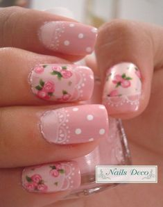 Vintage Pink Nails with Flowers, Lace and Dots.