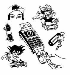 Skateboard Tattoo, Skate Tattoo, Poke Tattoo, Tatoo Designs, Old School Tattoo Designs, Tattoo Flash Sheet, Tattoo Flash Art, Tattoo Sketches, Tattoo Drawings