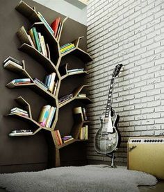 Ezyshine has bought the creative contemporary bookshelves design ideas that can fit on the walls, save the space & can give a sleek look to the home interior. These contemporary bookshelves design can make your home colourful & scenic. Tree Bookshelf, Tree Shelf, Book Shelves, Bookshelf Ideas, Book Storage, Bookshelf Design, Wall Shelves, Tree Wall, Storage Ideas
