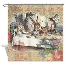 Mad Tea Party Alice In Wonderland Shower Curtain By Doodlefly