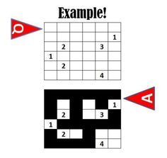 NOV 2012: Nurikabe puzzles are Japanese number puzzles that grace Japan's daily newspapers with a similar following as Sudoku.  To play, a grid is provided with numbers.  The number represents the number of white spaces contiguous to the numbers.  The rest of the spaces are filled with black to represent rivers.  Think of it as being similar to MS Windows' MINEFIELD game.  Follow this link for TWO Nurikabe Puzzles: http://misternizz.wordpress.com/2012/11/22/november-2012-nurikabe-puzzle…