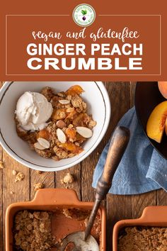 This vegan and gluten free Ginger Peach Crumble pairs a juicy peach base and pech chutney with a delicious crumble topping with oats, cinnamon and cane sugar. It makes an easy warming dessert all year round. Delicious Vegan Recipes, Delicious Desserts, Dessert Recipes, Tasty, Crumble Recipe, Crumble Topping, Peach Chutney, Peach Crumble, Peach Syrup
