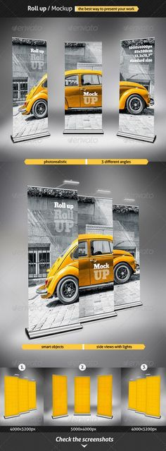 Buy Roll Up - Mockup by punedesign on GraphicRiver. Photo realistic Roll up / Mockup / Features 2 PSD Files 3 Different Angles + 2 Side views / Standards size: . Pull Up Banner Design, Pop Up Banner, Bunting Design, Web Design, Print Design, Graphic Design, Rollup Design, Plakat Design, Banner Stands