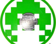 Handmade Vinyl Record Art Space Invaders Red by CbVinylArt