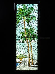 At first glance, each sea glass mosaic is similar to a stained glass window. Upon closer inspection, you'll notice that each piece of sea glass is not cut or Mosaic Tile Designs, Mosaic Tile Art, Mosaic Artwork, Mosaic Glass, Mosaic Windows, Stained Glass Windows, Mosaic Stepping Stones, Porch Wall, Mosaic Garden