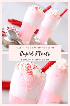 Cupid floats are a simple Valentine's Day drink idea that everyone is sure to LOVE! Made with just a couple easy ingredients these drinks are a fun and festive way to celebrate Valentine's Day. day food Cupid Floats - A Fun Valentine's Day Drink Recipe Valentine Desserts, Valentines Day Cookies, Kinder Valentines, Valentines Baking, Valentines Day Dinner, My Funny Valentine, Valentine Treats, Holiday Treats, Diy