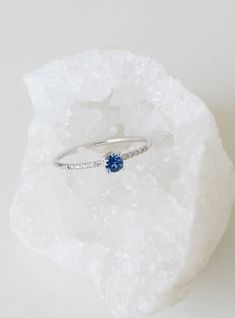 Unique engagement ring, Sapphire engagement ring, Diamond engagement ring, 18K White gold engagement ring, Simple engagement ring, Gemstone
