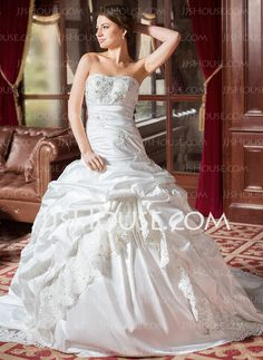 Wedding Dresses - $236.99 - Ball-Gown Sweetheart Chapel Train Taffeta Lace Wedding Dress With Ruffle Beadwork (002004436) http://jjshouse.com/Ball-Gown-Sweetheart-Chapel-Train-Taffeta-Lace-Wedding-Dress-With-Ruffle-Beadwork-002004436-g4436