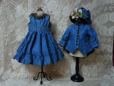 Gorgeous Antique Silk Dress Jacket Hat french Bebe Costume for Jumeau Steiner Bru doll