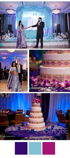 Bejeweled Cake and a beautiful Sweetheart Table Stage. Sapna & Sanjeev - Reception