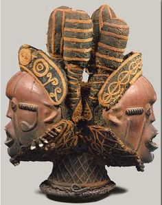 Igbo Mask: This mask exemplifies Igbo tradition in both behavior and thought, and, specifically, the intersection of the two. The Janus mask exists on the upper level of masking association and is associated with special powers of protection. (Siehe mehr unter Quelle)