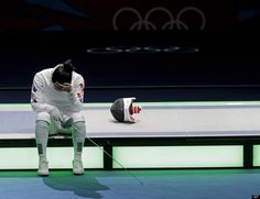 South Korea's Shin A-lam reacts after a women's individual epee fencing semifinals match against Germany's Britta Heidemann at the 2012 Summer Olympics, Monday, July 30, 2012, in London.