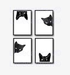 Schwarze Katze Print Set 4 Aquarell Drucke Cat Art Illustration Cat Lover Geschenk schwarz / weiß minimalistischen Home Decor Art Prints Wandkunst - 切り紙アート - Katzen Art And Illustration, Cat Lover Gifts, Cat Lovers, Black Cat Art, Cat Decor, Cat Wall, Cat Photography, Wall Art Prints, Cat Prints