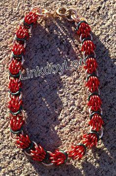 Poinsettia Scherzo Chainmail Bracelet | Linkdbylori - Jewelry on ArtFire
