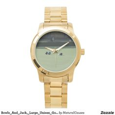 #Lawn #Bowls On The Green Large #Unisex Gold #Wristwatch